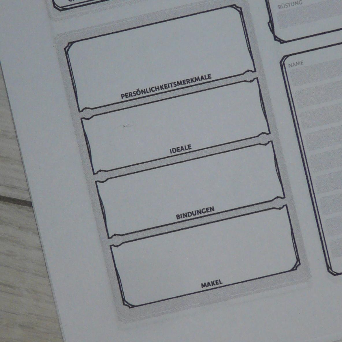 Ausschnitt des Charakterbogens mit Persönlichkeitsmerkmal, Ideal, Bindung und Makel