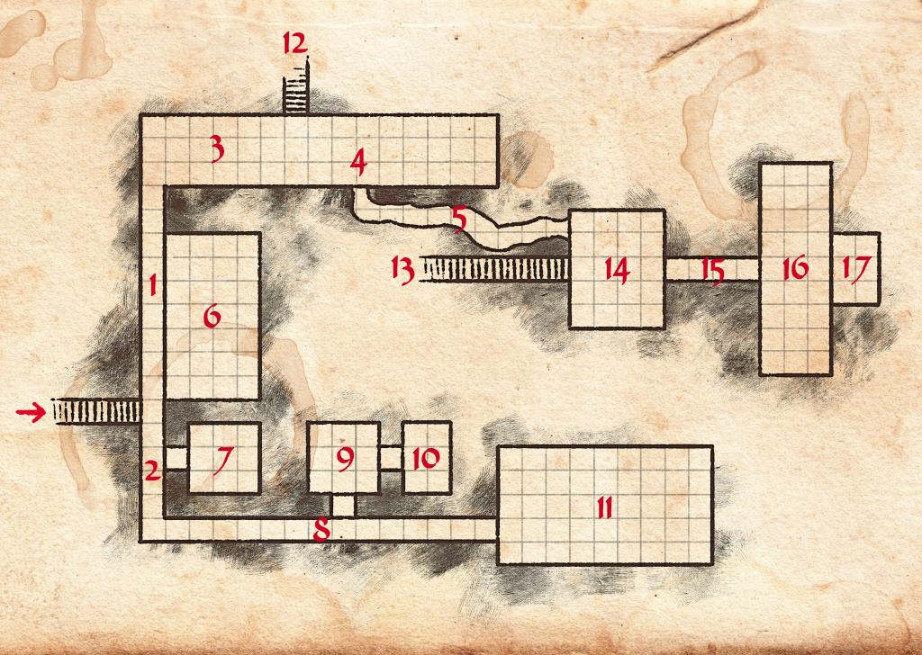 Diese Karte zeigt den Vorratskeller unter dem Lachenden Drachen. Er weit ganze 17 Räume und Gänge auf. Es ist wirklich kein Wunder, dass hier Dinge verloren gehen.