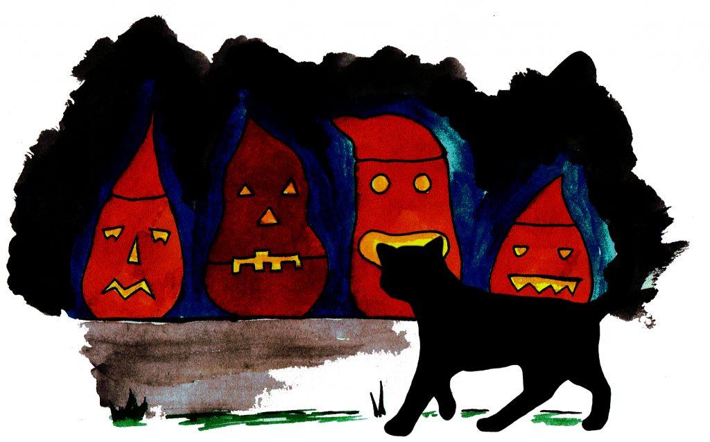 Ausgehöhlte Rüben auf der Türschwelle des Lachenden Drachen. Ihre geschnitzten Gesichter leuchten geheimnisvoll in der Nacht von Halloween.