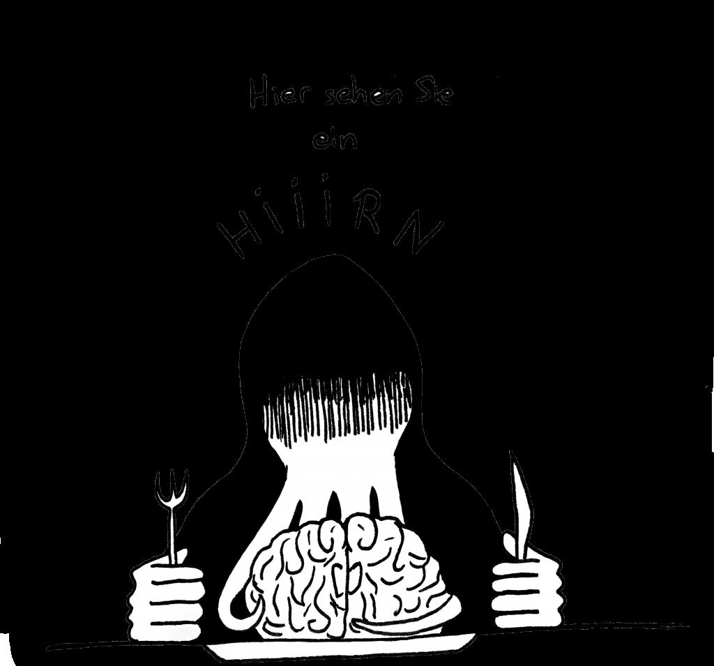 Eine in eine dunkle Kutte gewandete Gestalt an einem Tisch, vor ihr ein Teller mit einem Hirn.