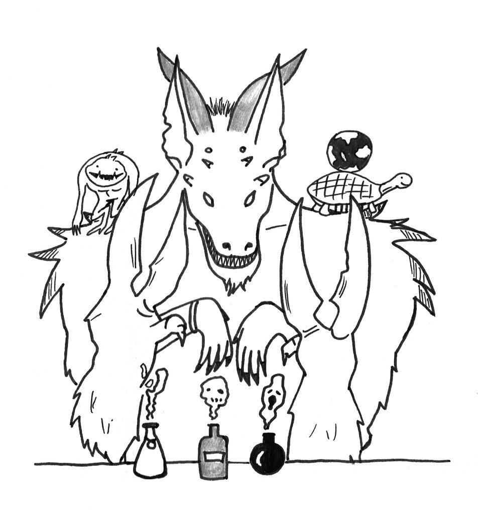 Heute porträtiert: Sinmaker, der Glabrezu, der eine Apotheke in Carceri führt und dort alle möglichen Gifte verkauft. Heute hat er Besuch von einem Slaad und der Schildkröte, welche die Welt auf ihrem Rücken trägt. Es ist einiges los in den Äußeren Ebenen.
