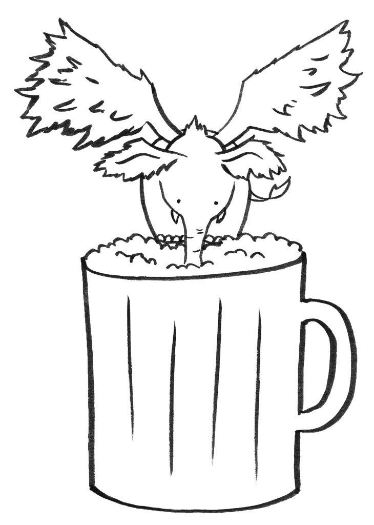 Ein kleiner Hollyphant - ein Elefant mit Flügeln, wie man ihn in den himmlischen Ebenen häufiger findet - trinkt Bier aus einem Krug.